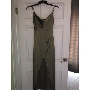 Satin olive dress from Nasty Gal
